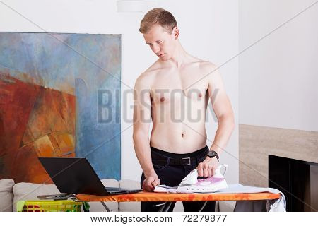 Independent Man During Ironing