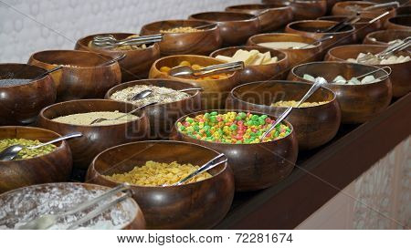 Cereals And Corn Flakes On A Breakfast Buffet
