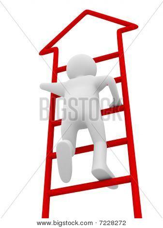 Homem caminha em cima sobre fundo branco. Isolado de imagem 3D