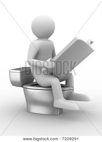 Mann sitzt auf Toilette mit Magazin. Isolierte 3D-Bild