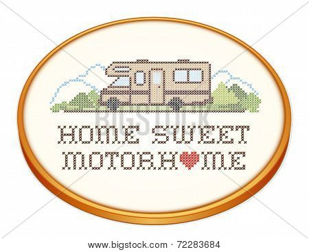 Home Sweet Motorhome, Cross Stitch Embroidery on Wood Hoop, Class C Model