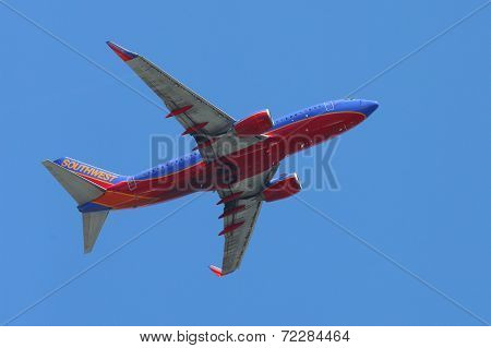 Southwest Airlines Boeing 737 plane taking off from La Guardia Airport