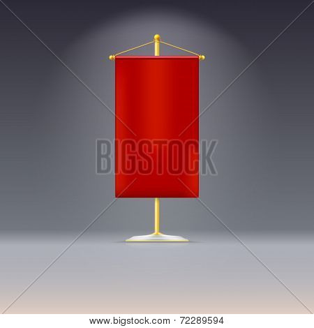 Red pennant or flag on yellow base with
