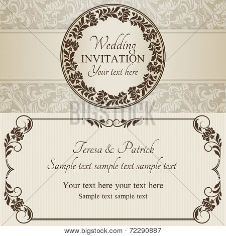 Baroque wedding invitation, brown and beige