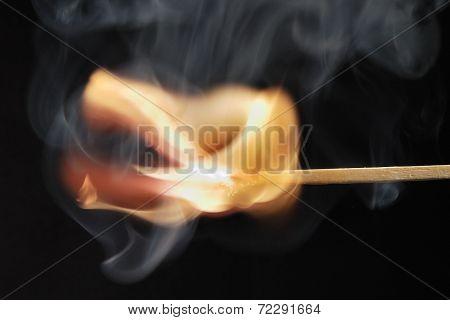 Matchstick Burns And Smoke