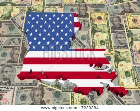 Louisiana 3D Map Flag On Dollars