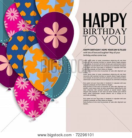 Vector birthday card with paper balloons and text.