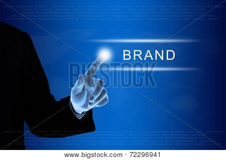 Business Hand Clicking Marketing Brand Button On Touch Screen