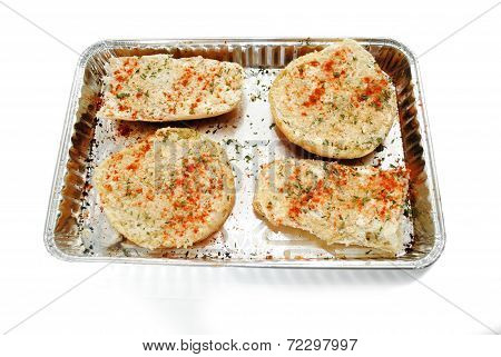 Fresh Prepared Garlic Bread Ready To Be Baked