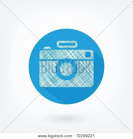Flat styled icon of film camera