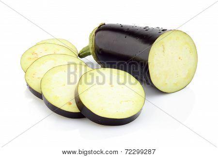 Sliced Aubergine, Eggplantsisolated White
