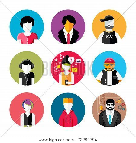 Set Of Stylish Avatars Of Man And Woman Icons