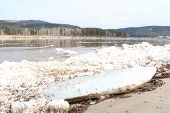 stock photo of kan  - Kan River after an ice drift in Zelenogorsk - JPG