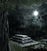 foto of moonlit  - Tombstone in celebration of Halloween on the background of the moonlit night - JPG