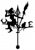 picture of wind-vane  - Illustration a silhouette of a wind vane - JPG