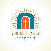 stock photo of salvation  - Template logo for The Church of Jesus door of salvation in the form of an arch with radiance and doors with a cross - JPG