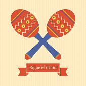 picture of maracas  - poster with maracas and spanish text translated as  - JPG