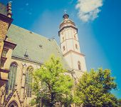 stock photo of thomas  - Thomaskirche St Thomas Church in Leipzig Germany where Johann Sebastian Bach worked as a Kapellmeister and the current location of his remains