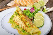 picture of scallion  - Vegetarian scallion omelette bio eggs swiss cheese slised lime - JPG