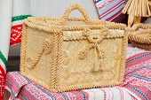 image of casket  - yello box from natural straw - JPG