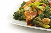 stock photo of sauteed  - Savory sauteed mixed chinese vegetables with crispy fried tofu - JPG