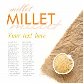stock photo of millet  - Raw millet in a bowl on burlap - JPG