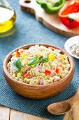 picture of quinoa  - Quinoa with pepper and fennel salad in wood bowl - JPG