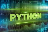 pic of pythons  - Python concept green background with green text - JPG