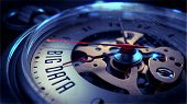 picture of watch  - Big Data on Pocket Watch Face with Close View of Watch Mechanism - JPG