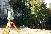 picture of cartographer  - Geodetic instrument used for surveillance on the construction site - JPG