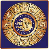 stock photo of horoscope signs  - The Horoscope circle with  Zodiac signs  - JPG