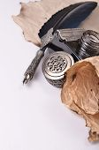 image of inkwells  - antique vintage blue pen and inkwell on the paper - JPG