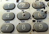 picture of dial pad  - Pic of Old dirty retro telephone keypad