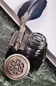 pic of inkwells  - antique vintage blue pen and inkwell on the paper - JPG
