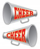 picture of cheerleader  - Illustration of two versions of a megaphone used by cheerleaders with the word cheer on them - JPG