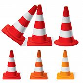 pic of safety barrier  - vector illustration of Safety Traffic Cones set - JPG