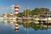 foto of lighthouse  - Harbor with Lighthouse on hilton Head Island - JPG