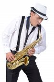 stock photo of saxophone player  - Saxophone player in white shirt - JPG