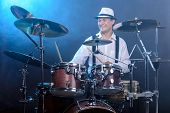 picture of drums  - Drummer man to play the drums - JPG