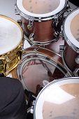 stock photo of drum-kit  - Drum kit isolated on white background - JPG