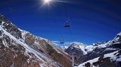 picture of aconcagua  - Aconcagua region - ski lift on a bright sunny day