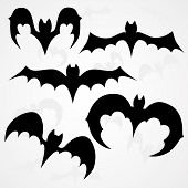 stock photo of vampire bat  - Set of vector black vampire bats for Halloween on light background - JPG