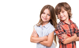 stock photo of sweet dreams  - Cool little kids posing over white background - JPG