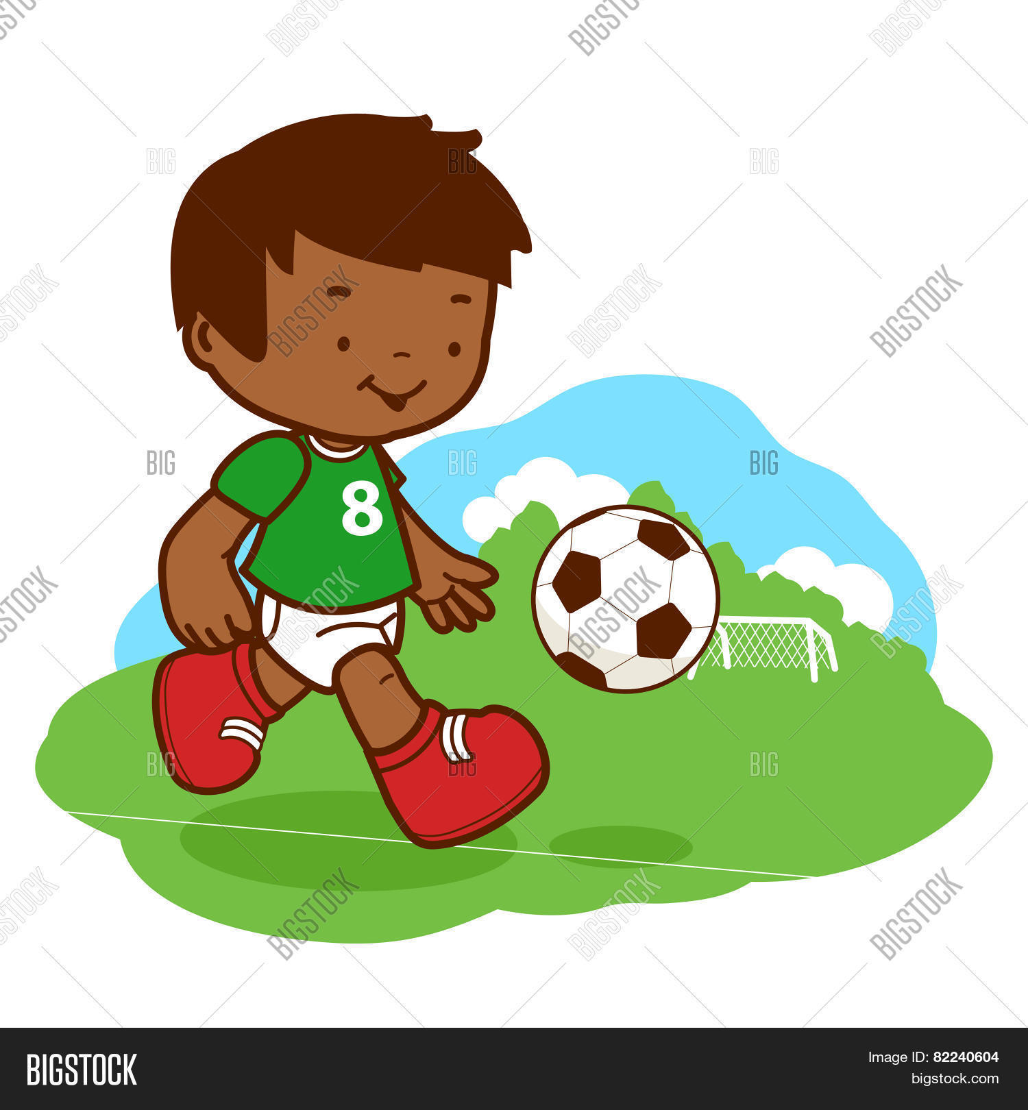 Kids Childrens Football Field 100 X 133cm: Little Boy Playing Soccer Vector & Photo