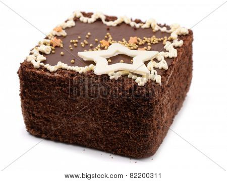 Small chocolate cake isolated on white