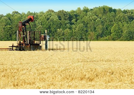 oil pump in a wheat field