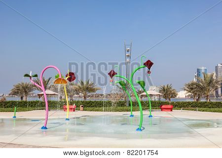 Playground Park With Fountains