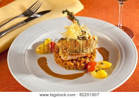 Nice Decorated Grilled Chicken With Vegetables.