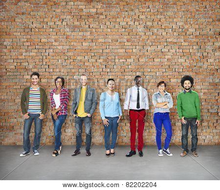 Diversity People Cheerful Team Standing Brickwork Concept