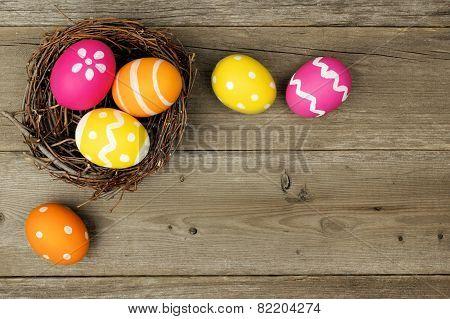 Easter egg border on wood